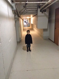 Introducing grandson Owen to the tunnel.